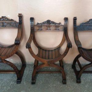 Три кресла курульные полукруглые в историческом стиле.  Германия