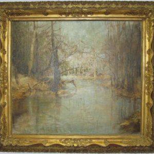 Картина Половодье автор  М.Леонтович нач.ХХ-го века