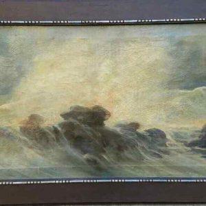 Картина Морской пейзаж K.Reseld нач.ХХ-го века