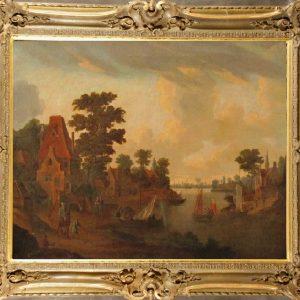 Картина Гавань Голландия 18 век школа Роберта Гриффера