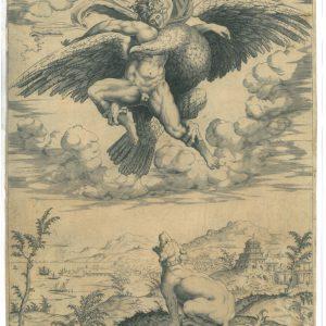 Офорт «Похищение Ганимеда» Микеланджело 16 век
