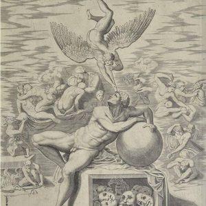 """Офорт """"Мечта человека"""" Микеланджело 17 век"""
