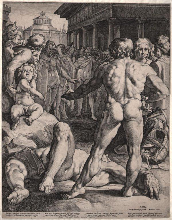 Офорт Бой между Одиссеем и Ирусом 1589 г. Ян Мюллер