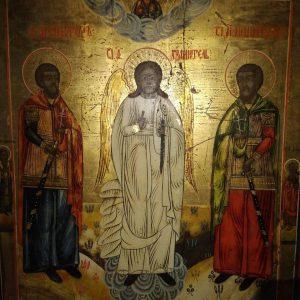 Икона Ангел хранитель с Никитой и Виктором 19 век