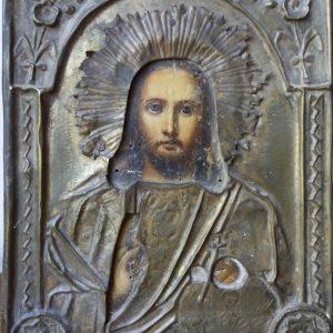 Антикварная икона Господь Вседержитель 19 век