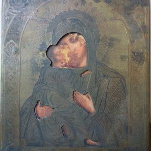 Антикварная икона Богоматерь Казанская 19 век