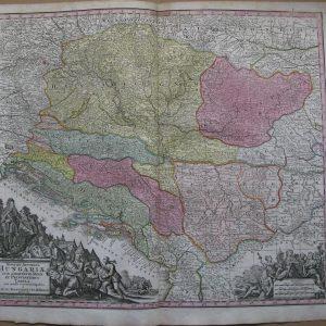 Карта Венгрии и Центральной Европы hungaria  19 век