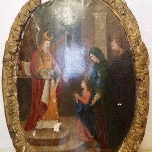 Двухсторонняя икона Введение в храм Пр.Богородицы и Крещение Господне 19 век