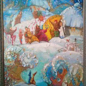 Картина  «Різдвяний вечір. Коляда» (2014) Оксана Збруцька