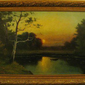 Картина«Закат солнца у лесного озера»