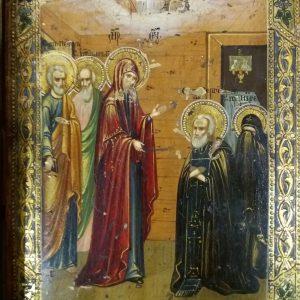 Икона Явление Богородицы Сергию Радонежскому  19век. Россия