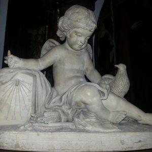 Скульптура Ангелочек 19 век  подпись автора