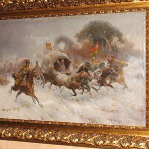 Картина Конная атака К.Стойлов  кон 19 века