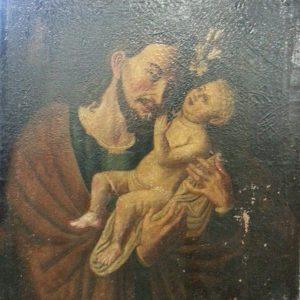 Картина Иосиф с Иисусом  19 век Бельгия