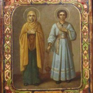 Икона св. Евгения и Пантелеймон 19 век