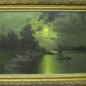 Картина Вечерняя рыбалка A. Engerl 19 век