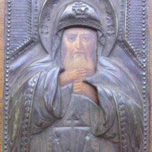 Икона Геннадий серебро 19 век камень гранат шпинель