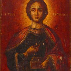 Икона Целитель Пантелеймон 19 век
