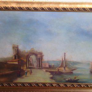 Картина Причал P.Sodin  XIX век