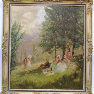 Картина Завтрак на траве Жан Вале кон. XIX века Импрессионизм