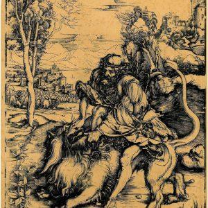 Ксилография Самсон убивает льва  Альбрехт Дюрер