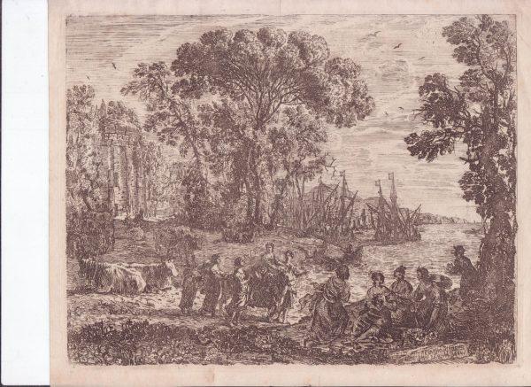 Офорт Похищение Европы 1634 год Клод Лоррен