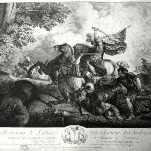 Офорт Батальная сцена  Антуан де Марсне де Ги  1755 год