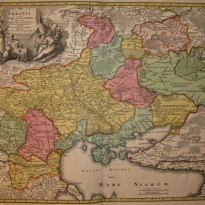 Карта - Україна Козацька Республіка/Ukrania quae et Terra Cosaccorum поч. XVIII ст..