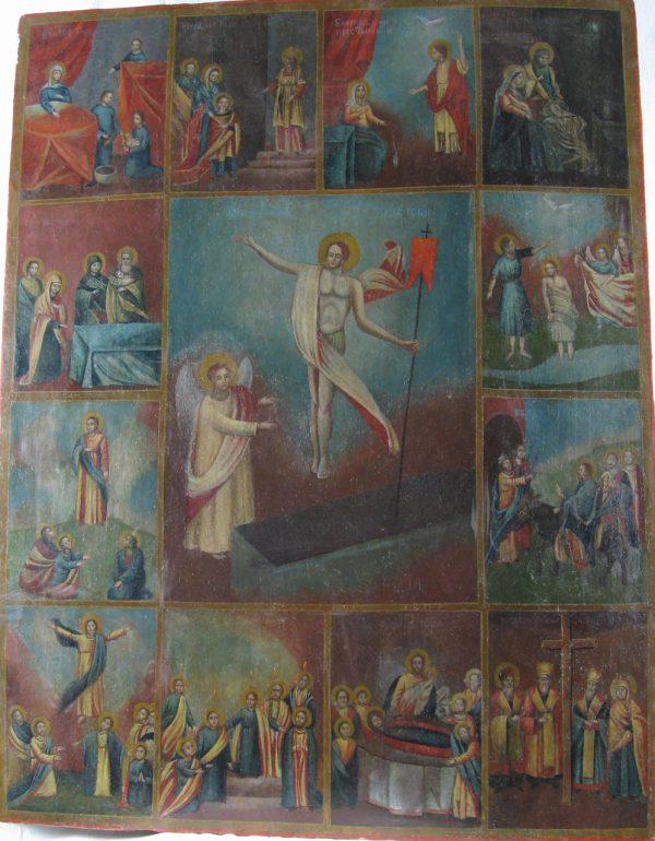 Греко католическая икона Праздники с Воскрешением 18 век