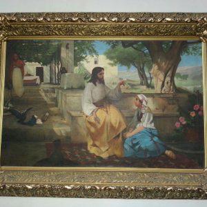 Картина Иисус и самаритянка дореволюционная копия с картины Г.Семирадского 1910-е годы