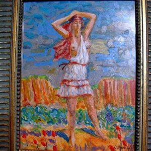 Картина Полуобнажённая девушка  Сычёв Станислав 1995 год