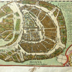 Гравюра План Москвы  1614 Амстердам
