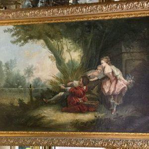 """Пара картин Галантная сцена"""" автор M.Millerr  18 век"""