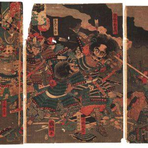 Гравюра Большое сражение между Минамото и Тайра  автор Утагава Куницуна Триптих 1862 год стиль укиёэ